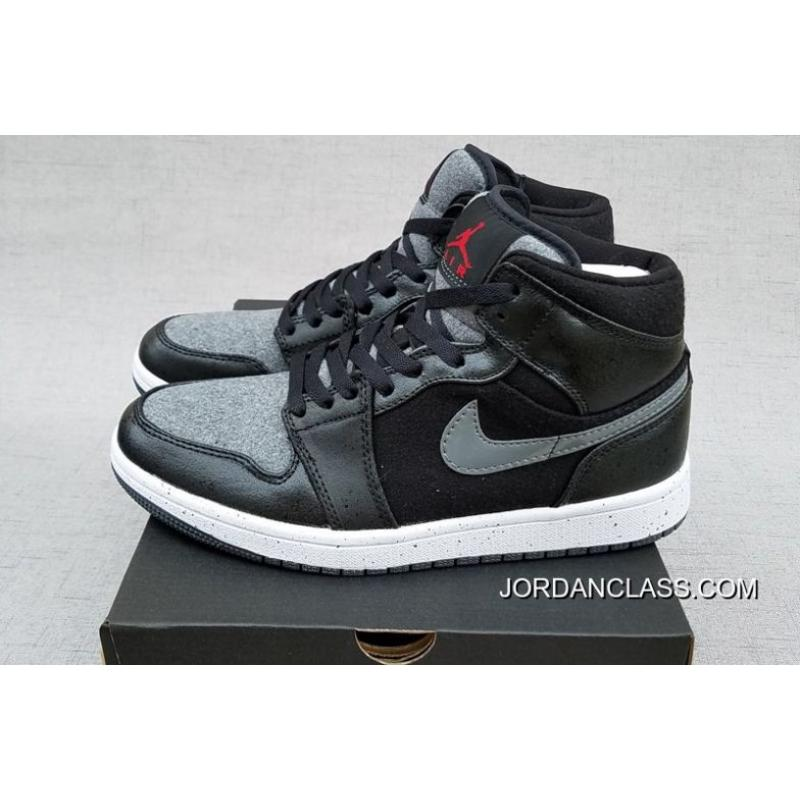 d4ede113b92dd2 New Air Jordan 1 Mid  Winter Wool  Premium Black Gym Red-Dark Grey ...