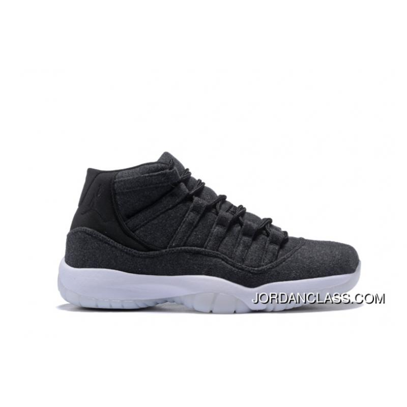 b1e287e50ade7c 2016 Air Jordan 11 Wool Dark Grey Metallic Silver-Black Discount ...