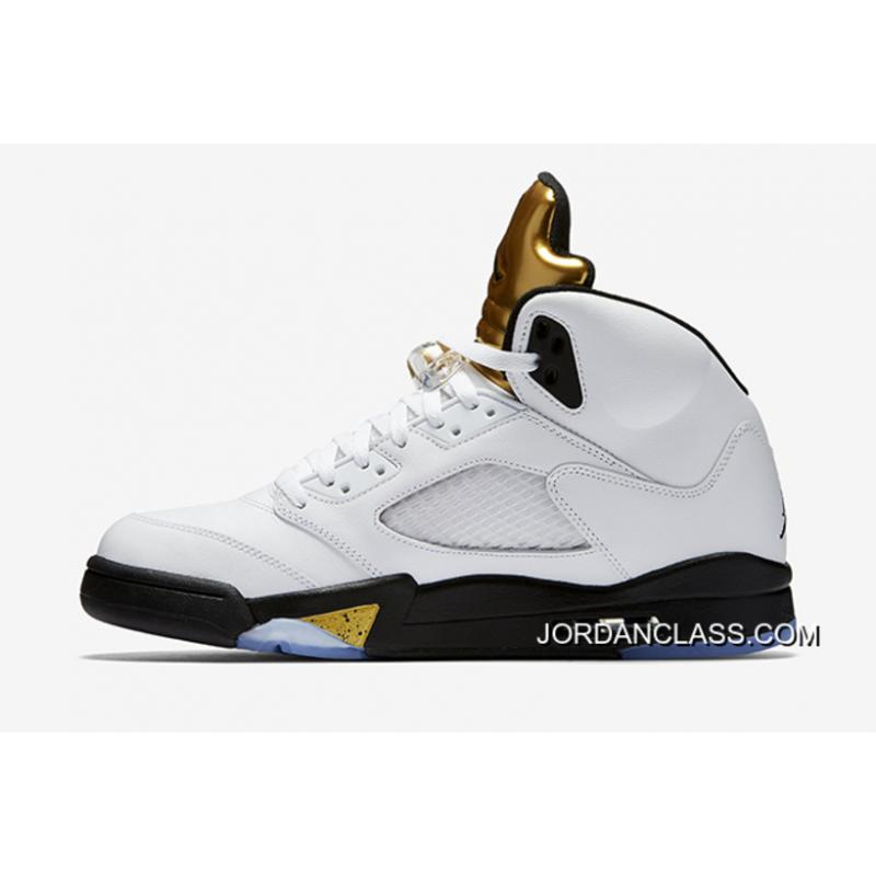 de9f95b5ca21ad Air Jordan 5 Olympic White Black-Metallic Gold Coin Top Deals ...