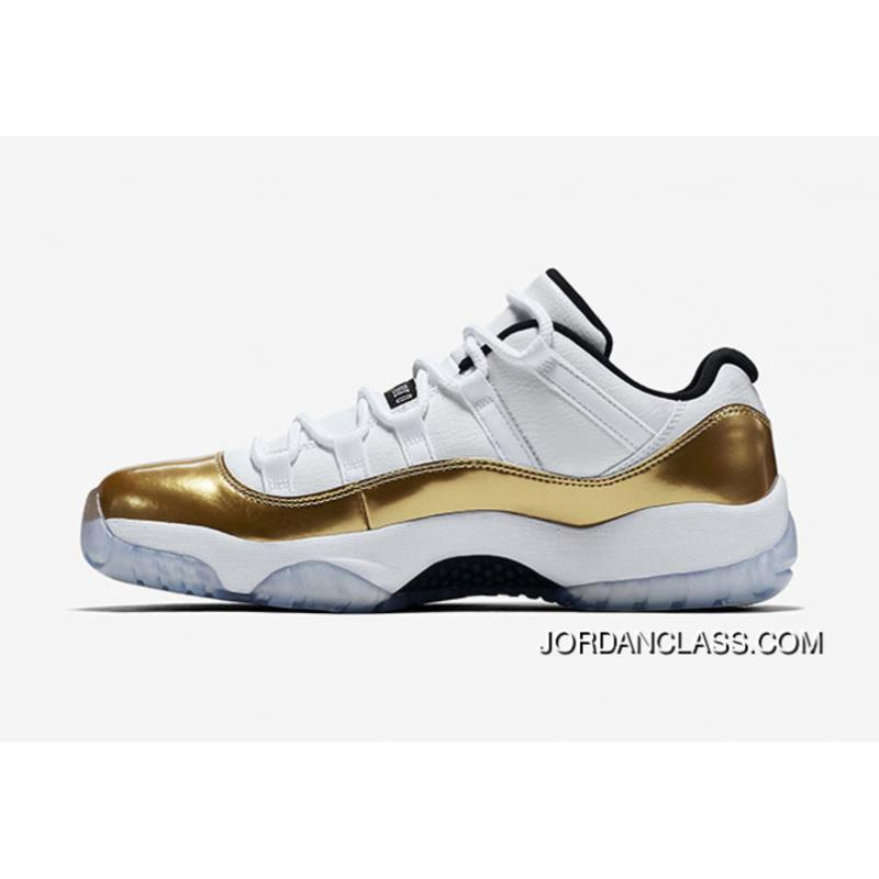 a05fef713cbf  Closing Ceremony  Air Jordan 11 Low White Metallic Gold Coin-Black Top     ...