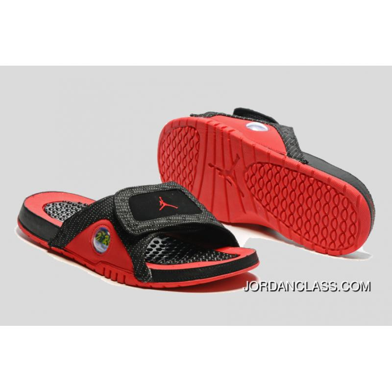 eb0fd2322608  Bred  Jordan Hydro 13 Slide Sandals Black Red New Release    ...