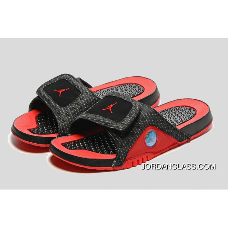 9ad163d5f8817 ...  Bred  Jordan Hydro 13 Slide Sandals Black Red New Release ·   ...