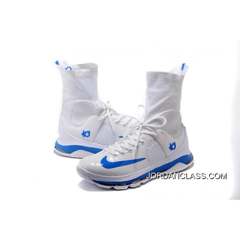 2c03ec35615c ... 2016 Nike KD 8 Elite White Blue PE Men s Basketball Shoe Super Deals ...