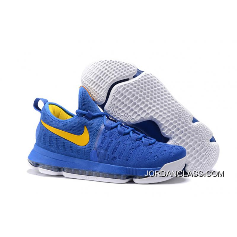 """b9ac2d275af2 2016 """"Golden State Warriors"""" Nike KD 9 Yellow Blue New Release ..."""