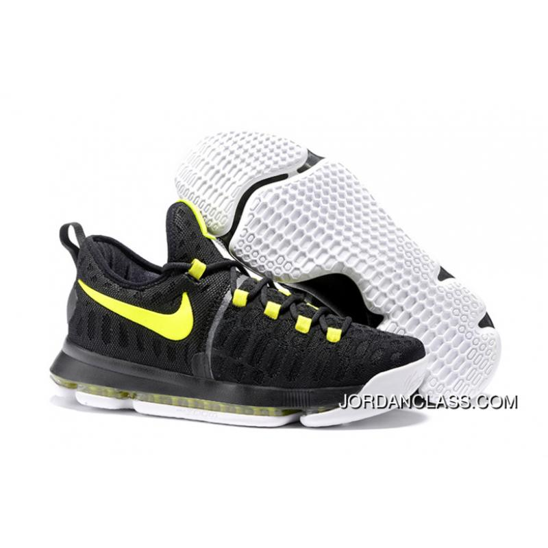 newest 30c3a 444f9 2016 Nike KD 9 Black Yellow Men's Basketball Shoes Cheap To Buy