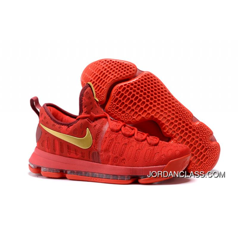 59f9a8b7c5f1 2016 Nike KD 9 Red Gold Men s Basketball Shoes New Release ...