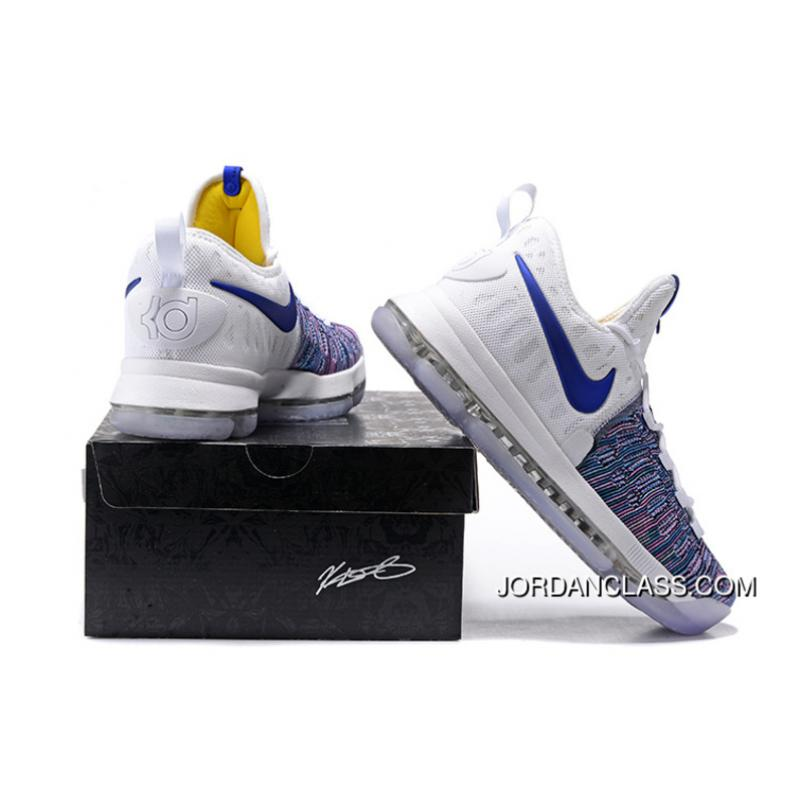 f80840fb597d ... 2016  WARRIORS   Nike KD 9 White Blue Grey Men s Basketball Shoes Free  Shipping