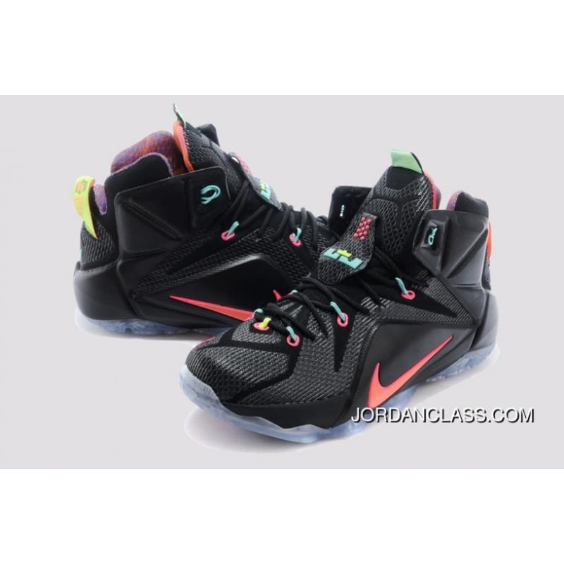 best cheap 254a8 1216f ... 2014  Data  Nike LeBron 12 Black Bright Mango-Hyper Punch-Volt ...