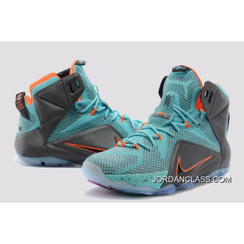 "4a579df44bfa ... 2015 ""Miami Dolphins"" Nike LeBron 12 Turquoise Grey-Crimson-Black For  ..."