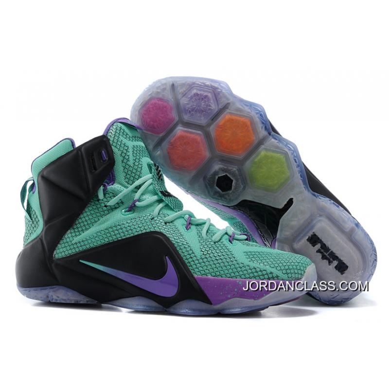 144315858cab 2015 Nike LeBron 12 Teal Court Purple-Black Top Deals ...
