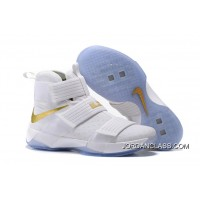 """the latest bb68c f453c 2016 """"Christmas Day"""" Nike LeBron Soldier 10 White And Gold Authentic"""