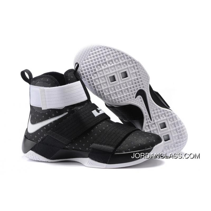 brand new e8ed8 5ff5c Nike Zoom LeBron Soldier 10 Black White-Metallic Silver Top Deals ...