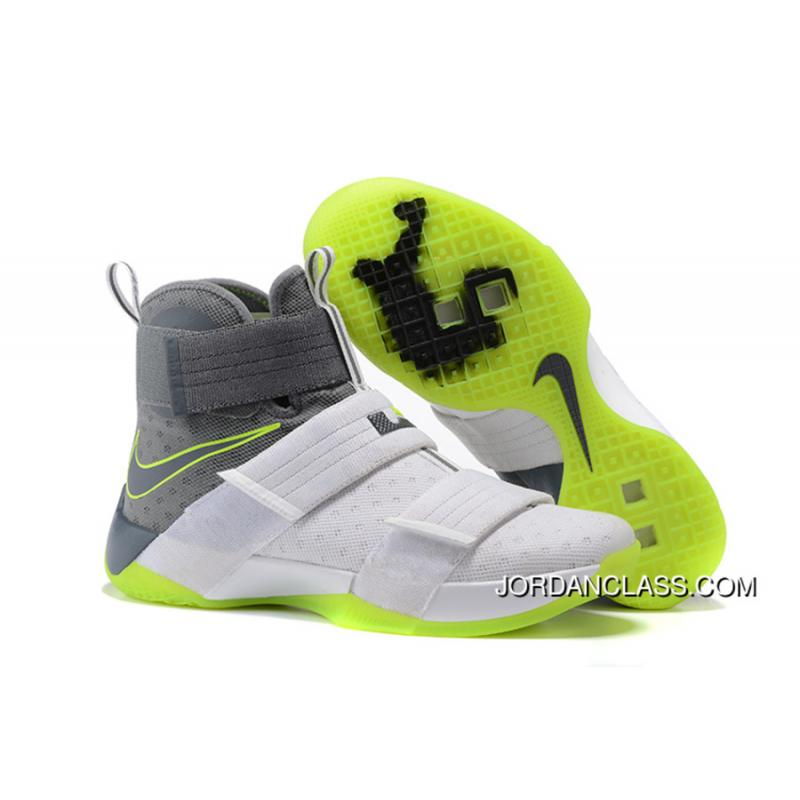 free shipping 36e19 29e7c Nike Zoom LeBron Soldier 10 Dunkman White Cool Grey-Electric Green  Authentic ...