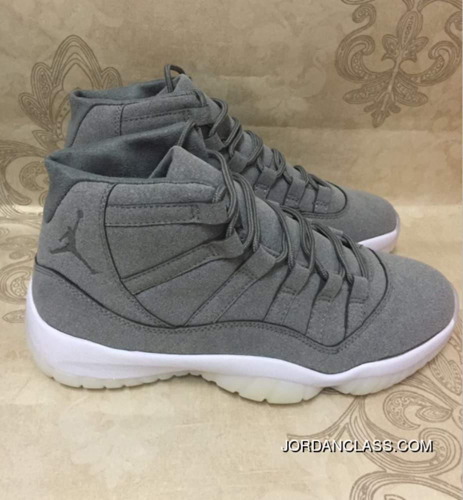 6892e112223dee Cheap Air Jordan 11 PRM Suede Cool Grey Sail For Sale
