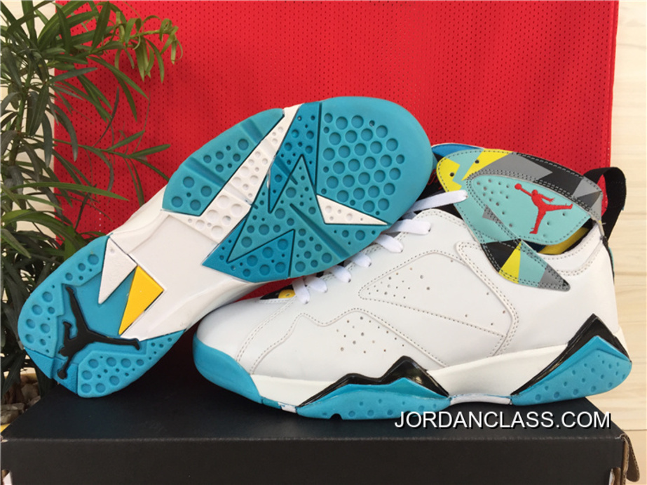 730c8588d2f0 N7  Air Jordan 7 Retro White Dark Turquoise-Black-Ice Cube Blue New ...