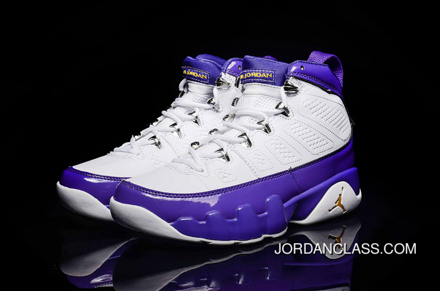 buy online b6fb7 e65d1 Air Jordan 9 Kobe Lakers PE White Purple Copuon Code