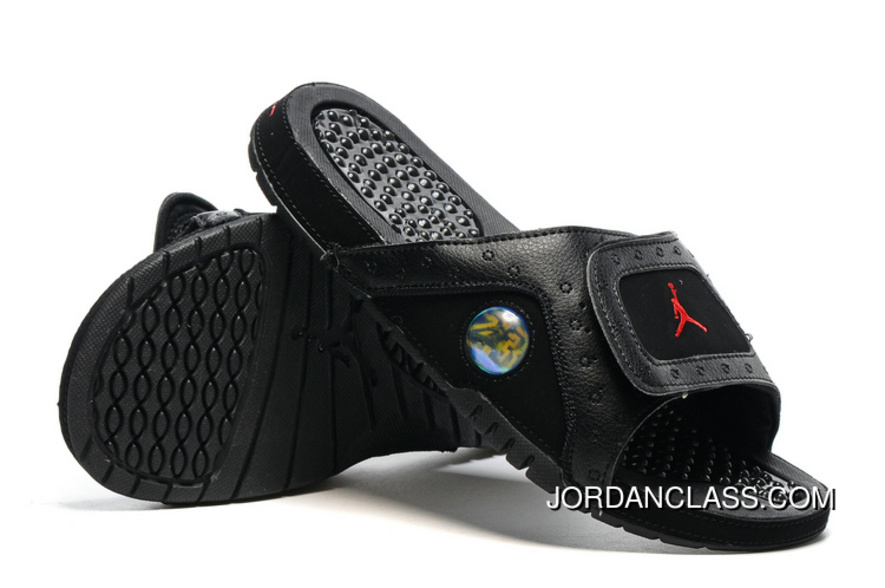 e68f6ac60812 Jordan Hydro 13 Slide Sandals Black Gym Red New Release