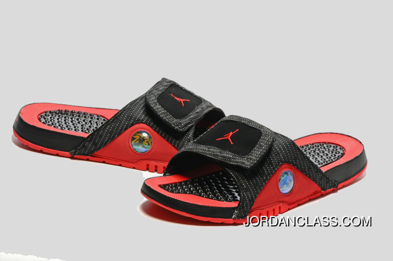 sports shoes 2acd4 8835a  Bred  Jordan Hydro 13 Slide Sandals Black Red New Release
