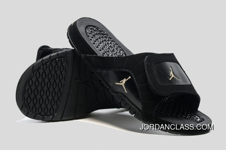 d5feffa75073b Jordan Hydro 12 Slide Sandals Black Metallic Gold Cheap To Buy ...