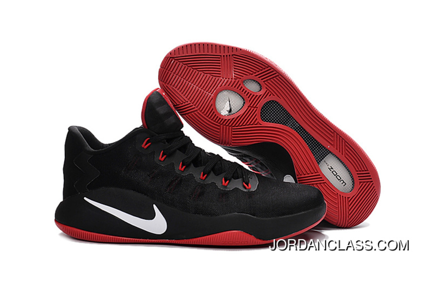 quality design d9d3d bbdf0 Nike Hyperdunk 2016 Low Black Red White Men s Basketball Shoes For Sale