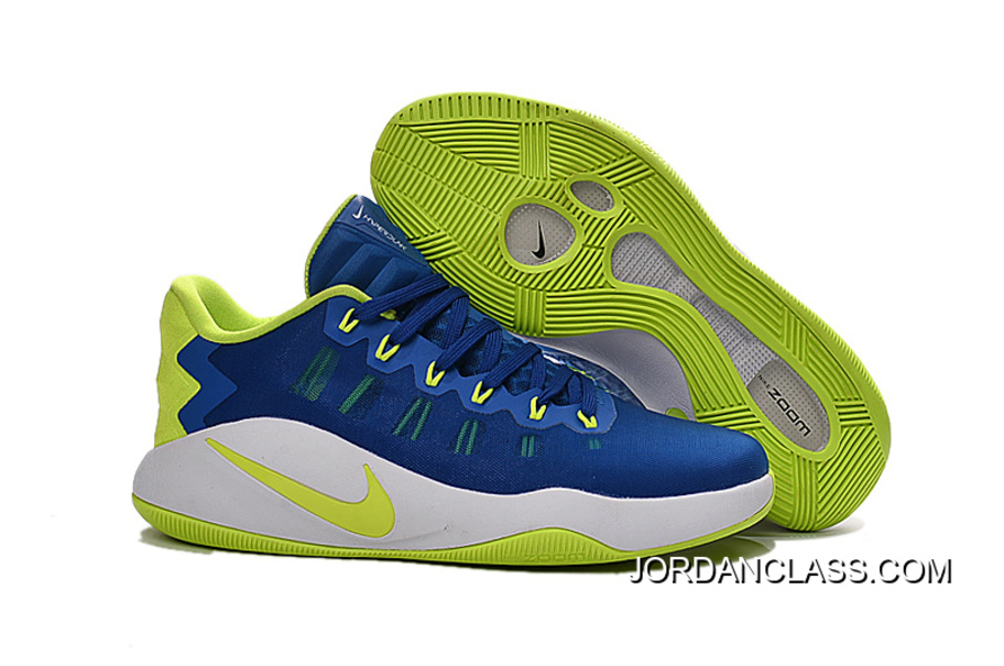 online store 0a064 13415 Nike Hyperdunk 2016 Low Royal Blue Green White Men s Basketball Shoes Top  Deals
