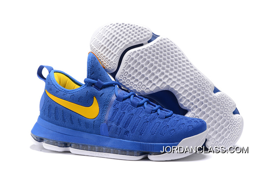 "93fb07457c6 ... 2016 ""Golden State Warriors"" Nike KD 9 Yellow Blue New Release  Buy ..."
