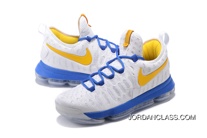"""d92577362926 2016 """"Golden State Warriors"""" Nike KD 9 White Yellow Blue New Style ..."""