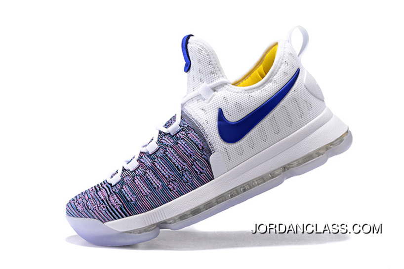 9665758d18a6 2016  WARRIORS   Nike KD 9 White Blue Grey Men s Basketball Shoes Free  Shipping