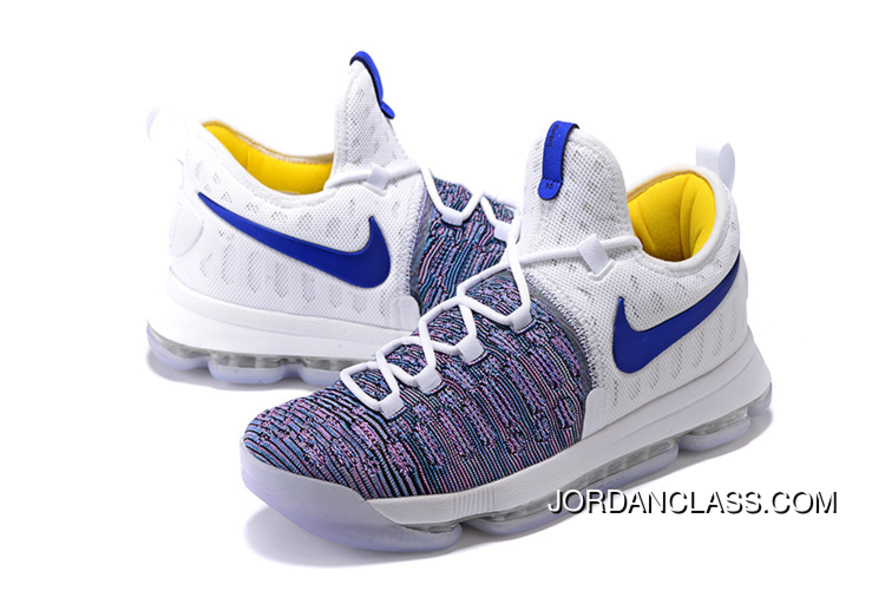 ef2d988e5ca5 2016  WARRIORS   Nike KD 9 White Blue Grey Men s Basketball Shoes Free  Shipping