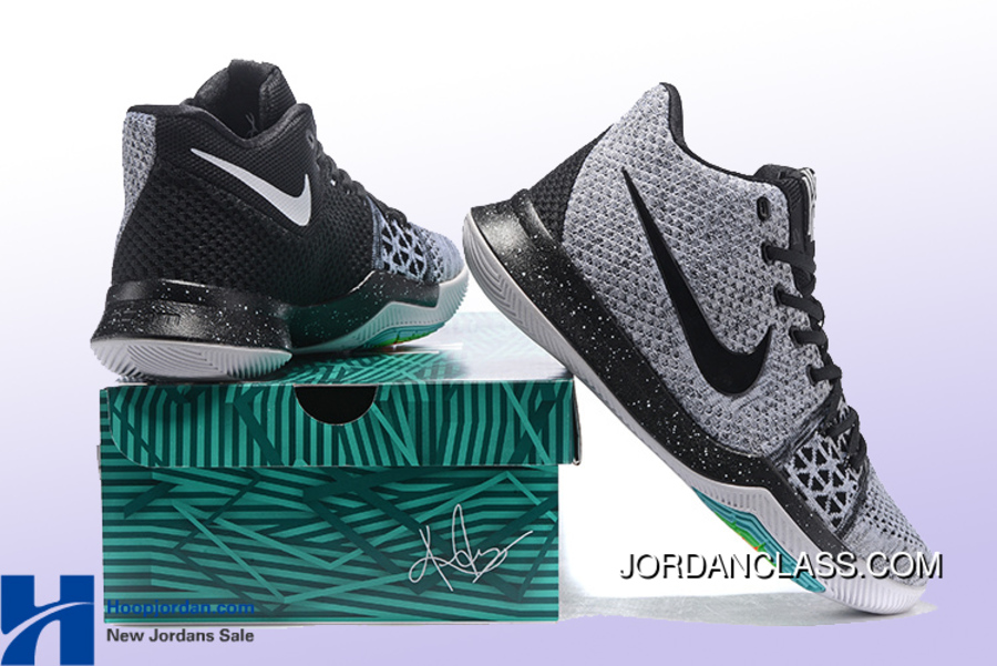 "4c0ef67ded0 Oreo"" Nike Kyrie 3 Wolf Grey Black Men s Basketball Shoe Authentic ..."