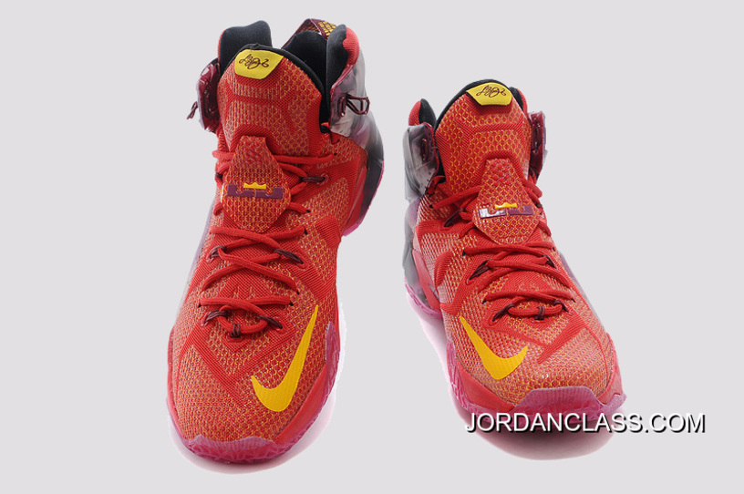 """09d616540d40 2014 """"China"""" Nike LeBron 12 Red Purple Yellow For Sale"""