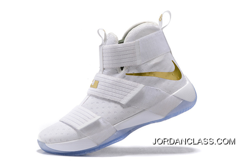 "the latest 12173 90371 2016 ""Christmas Day"" Nike LeBron Soldier 10 White And Gold Authentic"