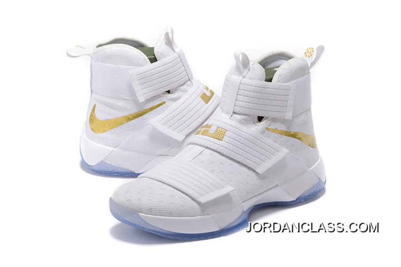 "the latest 0e8a8 d6a08 2016 ""Christmas Day"" Nike LeBron Soldier 10 White And Gold Authentic"