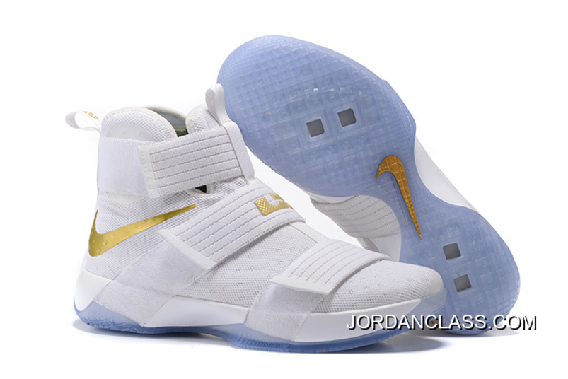 """9c591a5f0d2 2016 """"Christmas Day"""" Nike LeBron Soldier 10 White And Gold Authentic ..."""