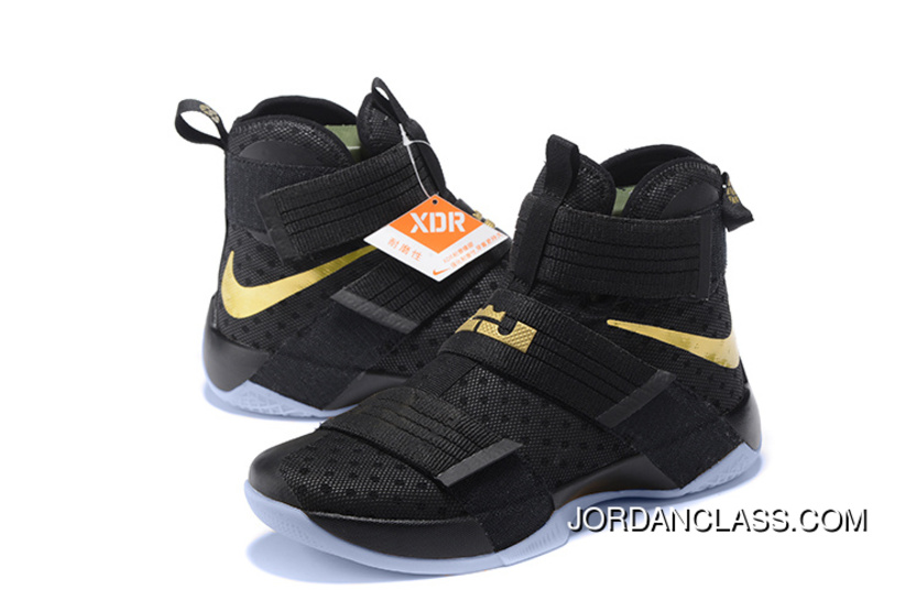 online store 7f5a6 caa55 Nike LeBron Soldier 10 Finals ID. Black Gold Top Deals