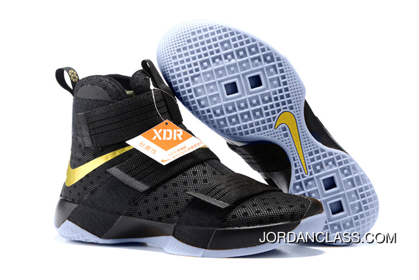 online store 664bc b30a7 Nike LeBron Soldier 10 Finals ID. Black Gold Top Deals