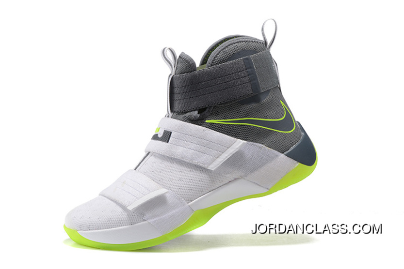 official photos 550df 7dde7 Nike Zoom LeBron Soldier 10 Dunkman White Cool Grey-Electric Green Authentic