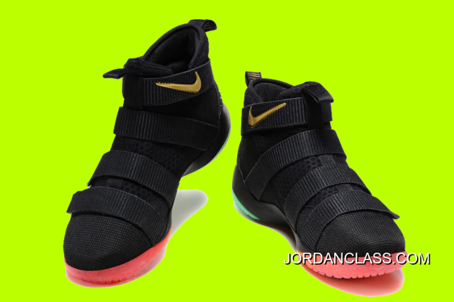 dc9f303b1f4 Cheap Nike LeBron Soldier 11 Black Gold Muti-Color Sale New Release ...