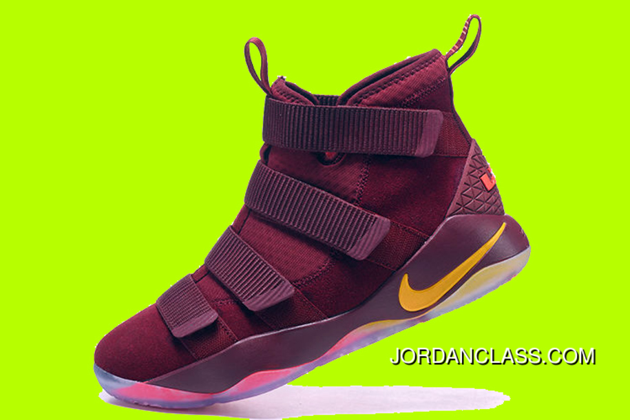 """63ef8248f4be Cheap Nike LeBron Soldier 11 """"Cavs"""" PE Red Yellow Sale Best"""