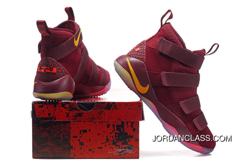 "74071d2ab5f6 Cheap Nike LeBron Soldier 11 ""Cavs"" PE Red Yellow Sale Best"